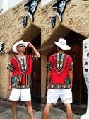 背心非洲服飾泰國衣幾何圖案V領男女裝潮流大口袋蝙蝠袖嘻哈街舞蹈T恤-花戀小鋪
