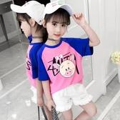 女童T恤夏裝新款兒童韓版洋裝寬鬆短袖女孩純棉上衣時髦半袖