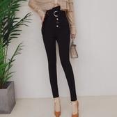 2019新款一排扣系腰帶高腰彈力鉛筆褲黑色打底長褲顯瘦