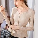 雪紡衫長袖鈕扣氣質收腰復古方領上衣(二色S-2XL可選)/設計家 AL301091