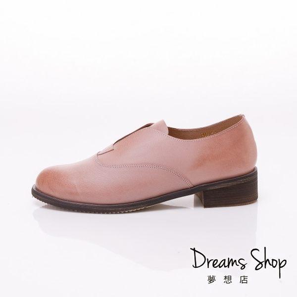 大尺碼女鞋-夢想店-時尚百搭款擦色頭層羊皮復古休閒鞋3.5cm(41-45)-粉色【JSP021-2】