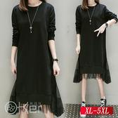 秋裝新款時尚網紗擺連衣裙 XL-5XL O-Ker歐珂兒 150751-C
