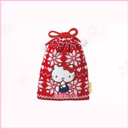 個人用品【asdfkitty可愛家】kitty紅底白雪花針織束口袋/禮物袋/可當聖誕樹掛飾-日本正版