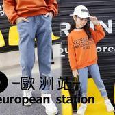 牛仔長褲/女童兒童褲子大童破洞褲子「歐洲站」