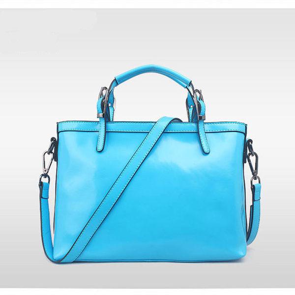【O-ni O-ni】真皮新款公事手提包女士油蠟素色側肩包HLY-8630-淺藍色