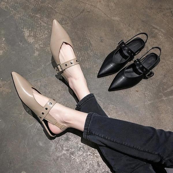 快速出貨 包頭 涼鞋女 夏季平底百搭尖頭鞋