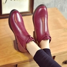 簡約粗跟金屬皮帶釦短靴 馬丁靴【A19】