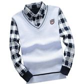 秋冬男士毛衫襯衫加絨加厚針織衫修身套頭保暖毛衣