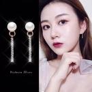 925純銀針  韓國優雅氣質 優雅珍珠長方形 耳環-維多利亞190203