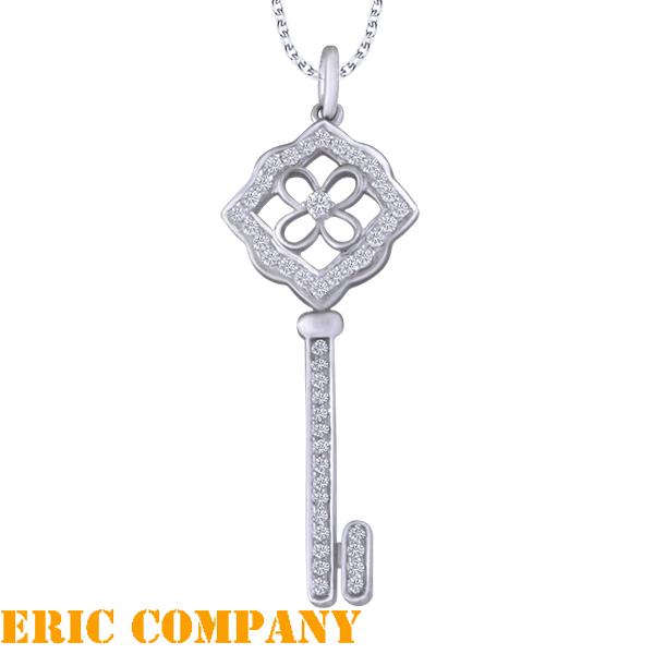 Eileen Me Wishful key pendant 8K白金鑲鑽鑰匙吊墜 贈義大利925銀鍊