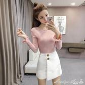 針織衫 秋新款韓國風時尚木耳邊純色豎紋修身顯瘦打底針織衫 全館免運