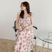 碎花洋裝 大碼胖MM早春新款套裝裙子法式復古溫柔開衫吊帶碎花連身裙兩件套 小天使