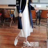 網紗裙 新款鬆緊腰雪紡百褶裙半身裙韓版高腰純色寬鬆中長款女裙 3C優購