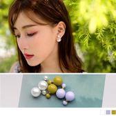 《ZC1441》雙圓珍珠設計質感耳環 OrangeBear