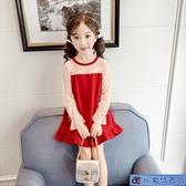 中大尺碼女童洋裝 長袖蕾絲網紗連身裙春秋裝新款紅色公主裙洋氣女孩魚尾裙潮 3C數位百貨