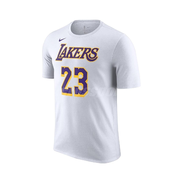 Nike 短袖T恤 Lakers NBA T-Shirt 黑 白 男款 短T Lebron James 湖人隊 運動休閒 【ACS】 CV8529-100