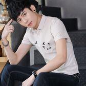 短袖條紋襯衫男韓版青少年休閒潮流薄款條紋襯衣《印象精品》t477
