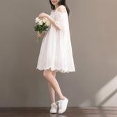 森女系洋裝 森女連身裙女夏日系復古文藝學生正韓白色漏兩肩娃娃裙 Ballet朵朵
