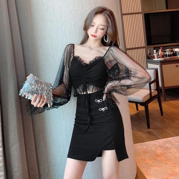 夜店洋裝 夜場蹦迪裙2021春裝新款女裝性感網紗露腰抽繩網紗低胸長袖連身裙 非凡小鋪