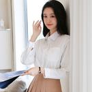 白色襯衫女純棉內搭打底外穿寬松大碼薄外套女706TCF07b紅粉佳人