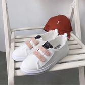 帆布鞋女秋季學生平底韓版透氣中口亮片魔術小白鞋