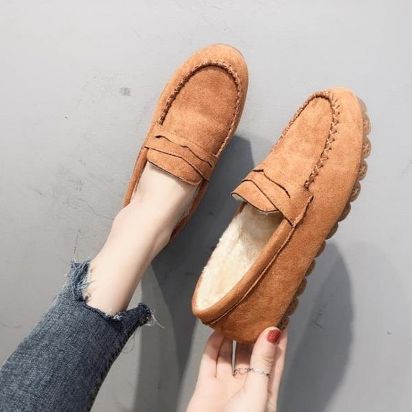 豆豆鞋女平底單鞋牛筋軟底加絨棉鞋舒適孕婦新款秋冬女士懶人媽媽