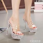偽娘鞋 性感偽娘變裝大碼超高跟細跟女涼托鞋14cm透明防水臺水晶鞋婚鞋 快速出貨