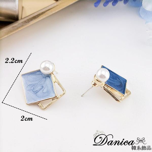 現貨 韓國時尚氣質幾何撞色不對稱925銀針耳環 夾式耳環 S93693 批發價 Danica 韓系飾品 韓國連線