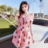網紅主播服裝同款洋裝小禮服甜美氣質性感一字肩公主蓬蓬連衣裙 伊羅 新品
