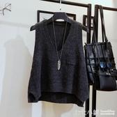 毛衣馬甲女短款秋冬新款韓版寬鬆V領坎肩毛線背心無袖針織衫外套
