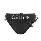 【CELINE】Logo 小牛皮斜背三角包(黑色) 195903DCS.38SI