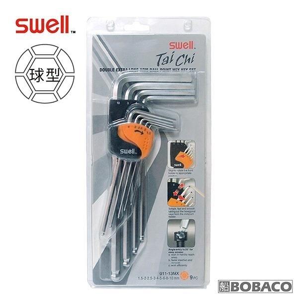 【南紡購物中心】SWELL【球型長頭長柄六角扳手9支組】(公制1.5-10mm)