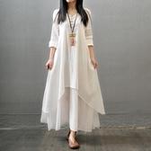 文藝復古森女系中長款裙子顯瘦長袖棉麻連身裙假兩件 居享優品