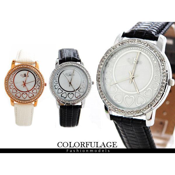 柒彩年代【NE405】韓國品牌O.J.Lina氣質名模腕錶 經典愛心加滿鑽點綴 贈禮盒+保卡~單隻