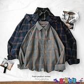 長袖襯衫 長袖襯衫男秋冬季格子襯衣韓版情侶工裝上衣服寬鬆休閒外套潮流寸 寶貝 免運