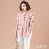 棉麻棉綢短袖上衣2020夏季亞麻T恤襯衫適合胖女人穿的遮肚顯瘦小衫潮 LR21359『毛菇小象』