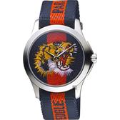 GUCCI 古馳 老虎刺繡帆布手錶-雙色/38mm YA126495