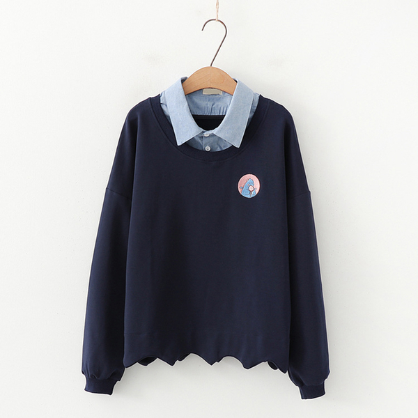 *OREAD*學院風刺繡拼色連帽毛圈棉質假兩件衛衣(3色F碼)