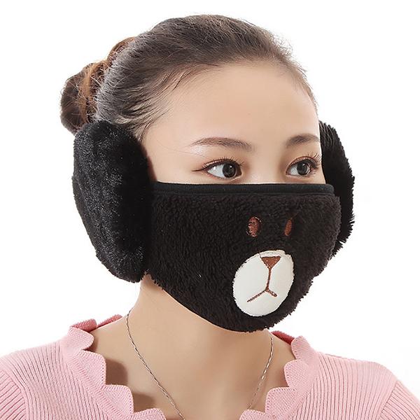 【獨愛3C用品】【買三送一】冬季必備保暖卡通造型小熊絨毛防塵口罩耳罩二合一(編號1/黑)