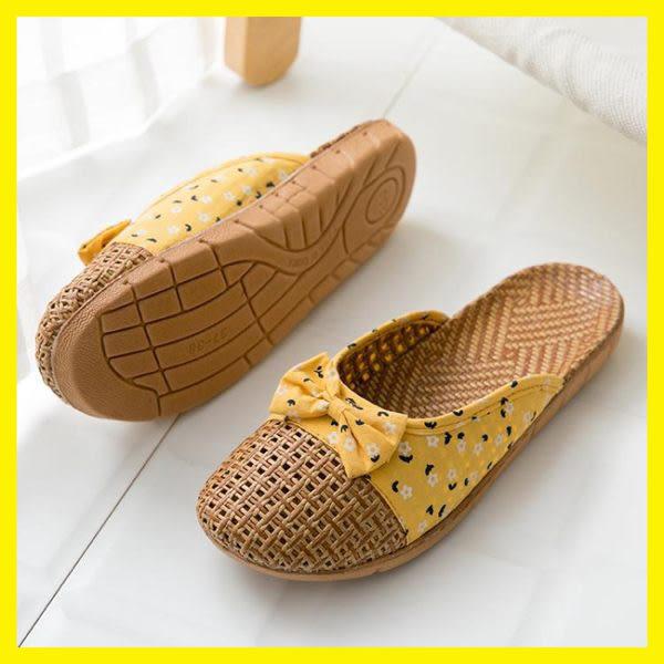 包頭拖鞋女夏亞草編織室內情侶家居家用防滑厚底亞麻地板涼拖鞋男 艾尚旗艦店