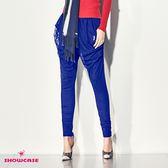 【SHOWCASE】個性垂墜網布修身窄管哈倫褲(藍)