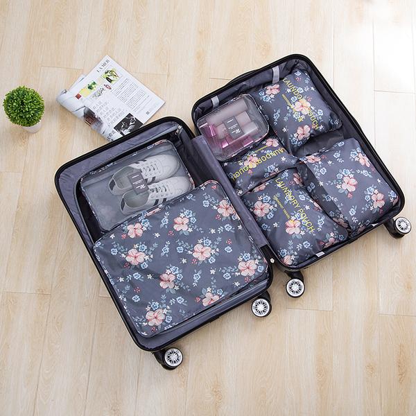 印花旅行收納七件套 韓版 行李 打包 整理 旅行 登機 衣物 分類 拉鍊 網袋【Z122】MY COLOR