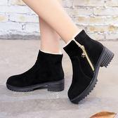 冬季新款保暖雪地靴厚底粗跟加絨棉鞋防滑百搭馬丁靴女短靴子  時尚潮流