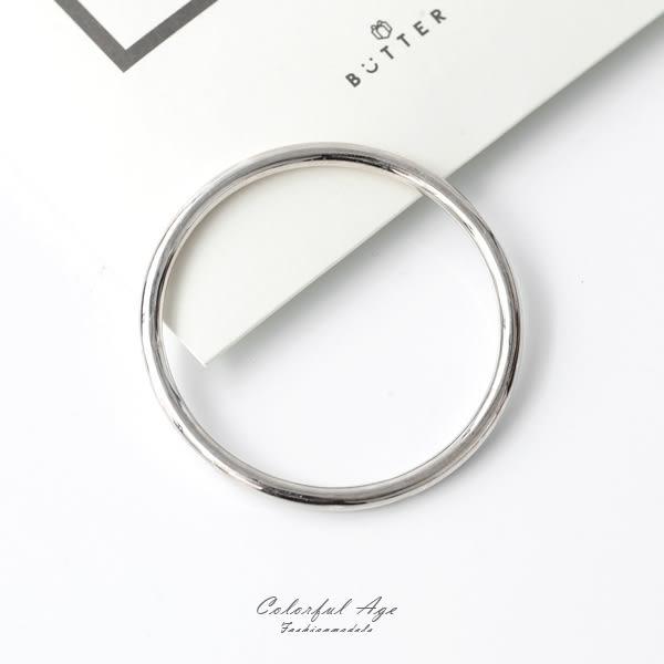 手環 925純銀簡雅素面實心手鍊 柒彩年代【NPA70】