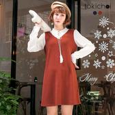 東京著衣-tokicho-氣質女孩拼接袖領綁帶洋裝-S.M(172759)