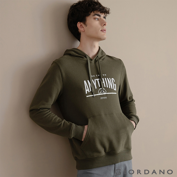 【GIORDANO】男裝CHECKS連帽T恤 - 02 葡萄葉綠