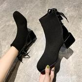 裸靴馬丁靴女英倫風2020秋季新款短靴女粗跟歐洲站小香風網紅瘦瘦裸靴