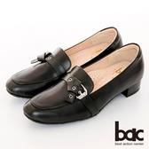 【bac】歐美簡約皮帶扣環粗跟樂福鞋(黑色)