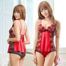 969情趣~火紅柔緞緹花刺繡二件式短版睡衣