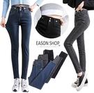 EASON SHOP(GQ0672)實拍水洗單寧彈力貼身多鈕釦隱藏拉鍊雙鈕釦收腰貼腿牛仔褲女長褲小腳鉛筆窄管褲